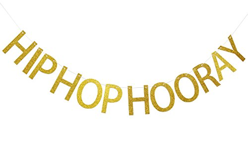 Hip Hop Decorations - Hip Hop Hooray Gold Glitter Banner,Birthday,