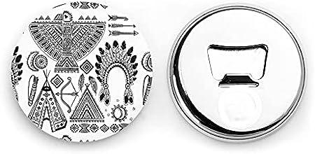 Banda para la cabeza de plumas Tienda tipi Arco Flecha Abrebotellas redondos / Imanes de nevera Sacacorchos de acero inoxidable Etiqueta magnética 2 piezas