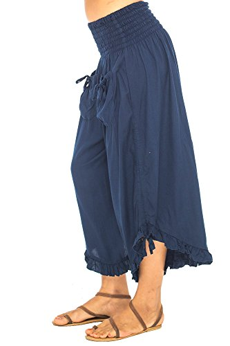 Back From Bali Womens Wide Leg Comfort Elastic Waist Crop Ruffle Hem Audi Pants Navy L/XL