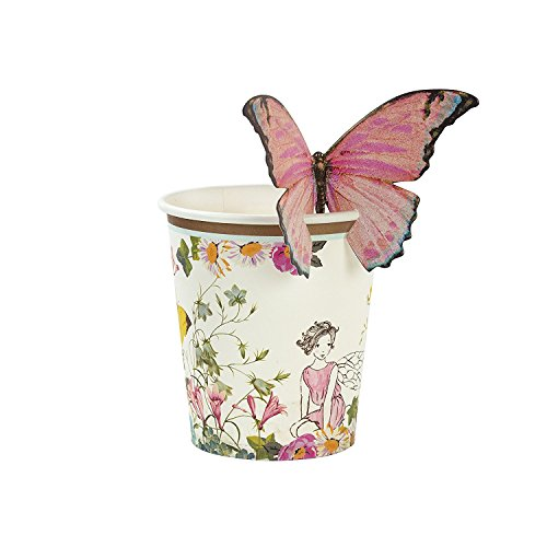 Birthday Party Paper Cups - Talking Tables Truly Fairy Floral Paper Cups for a Birthday Party or General Celebration, Pink & White (24 Pack)