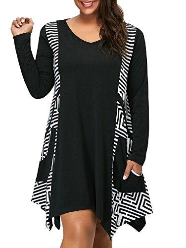 KunLunMen Womens Plus Size Dresses with Pocket Graphic Print Striped V Neck Ruffle Flounce Swing Flowy Tunics Tops