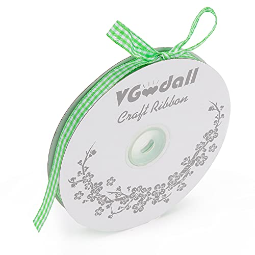 VGoodall Light Green Gingham Ribbon, 3/8 x 50Yd Picnic Craft Ribbon Light Green Ribbons for Hair Accessories Craft and Christmas Gift Wrapping
