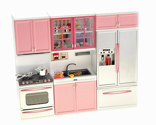 PowerTRC Modern Toy Kitchen - Battery Operated - Kitchen Playset - Perfect for Dolls