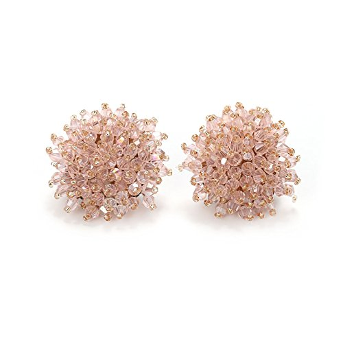 - Crystal Clip On Earrings Stud Earrings Light Pink Flowers Shape Hand Crafted Fashion Earring for Women