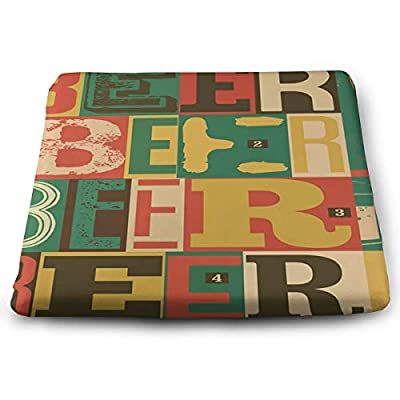 SZjinghao Chair Square Cushion,Seat Cushion for Home Office Dinning Chair Solid Color Indoor Outdoor,Chair Pads Colorful Old Typographical Vintage Beer Retro Alcohol Drink Abstract: Kitchen & Dining