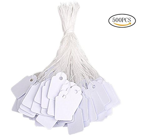 500PCS White Label Coding Card Price Tag Writable Display Labels with Hanging String Paper Tag for Jewelry Accessories Gifts Art Craft by SYBL