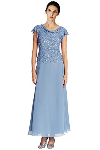 J Kara Embellished Flutter Sleeve Popover Evening Gown Dress