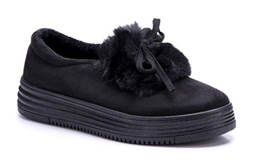 Schuhtempel24 Damen Schuhe Halbschuhe Flach Zierschleife Schwarz