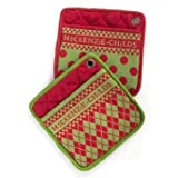 cooks tools polka dot - MacKenzie-Childs Cotton Kitchen Pot Holders – Hot Pot Holder Oven Pads – Green Red Zig-Zag, Polka Dot Design Square Pan Holders – Set of 2-8.5 Wide Long