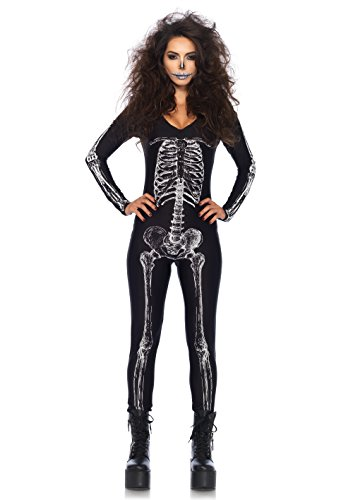- 41SxMmsljAL - Leg Avenue Women's X-ray Skeleton Catsuit Costume