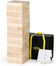 A11N Giant Tumble Tower - Wooden Stacking Yard Game for Kids and Adults | 54 Oversized Blocks, Stacks to 5+ Fe