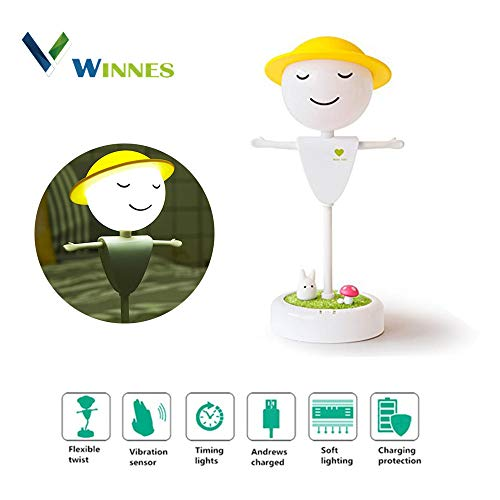 LED Dimmable USB Night Lamp, Winnes Scarecrow Night Light Cute Children Table Light Flexible Rechargeable Bedside Lamp Touch/Vibration Sensor for Bedroom Bathroom Nursery Kids Adults (White) ()