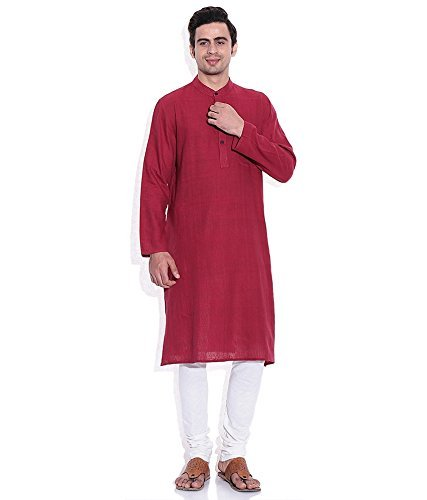 Royal Kurta Men's Summer Wear Fine Cotton Blended Straight Kurta 44 Red