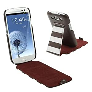 Brown + White Stripes Leather Case with Holder for Samsung Galaxy S3 / i9300