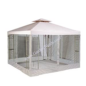 RIPLOCK Universal 10′ x 10′ Two-Tiered Replacement Gazebo Canopy Top Cover and Mosquito Netting Set