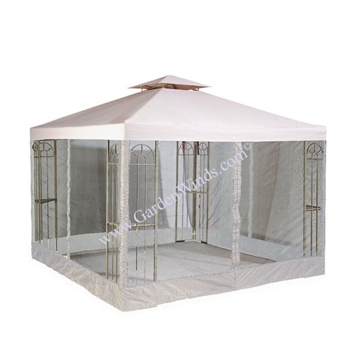 Garden Winds LCM413B-RS Universal 10x10 Two Tiere Gazebo Replacement Canopy and Netting, Beige (Tier 2 Gazebo)