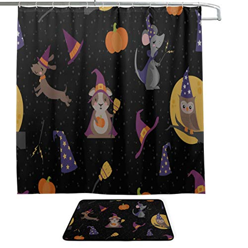 (Broom Home Supplies Hand-Painted Single-Sided Printing Shower Curtain and Non-Slip Bath Mat Rug Floor Mat Combination Set with 12 Hooks for Bathroom Decor and Daily)