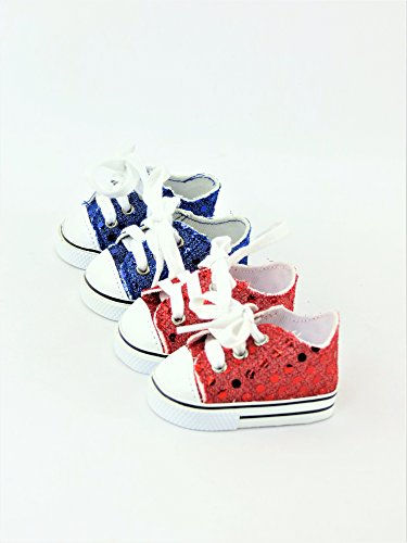 2 Pair Sequin Sneakers - Red & Blue Product | Fits 18