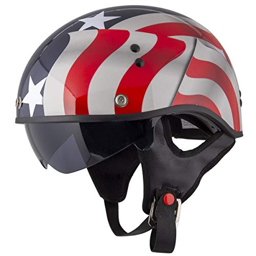 Motorcycle Outlaw Dot - Outlaw T-70 'Blue Flag' American Flag Half Face Helmet with Drop Down Tinted Visor - Large