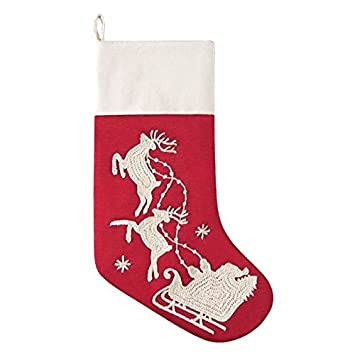 C F Home 8.5x 20 Flying Santa Sleigh Stocking – Two Reindeer