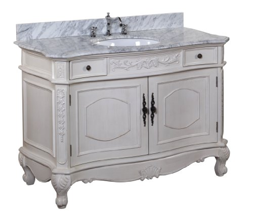 Kitchen Bath Collection KBCD38CARR Versailles Bathroom Vanity with Marble Countertop, Cabinet with Soft Close Function and Undermount Ceramic Sink, Carrara/Cream, 48