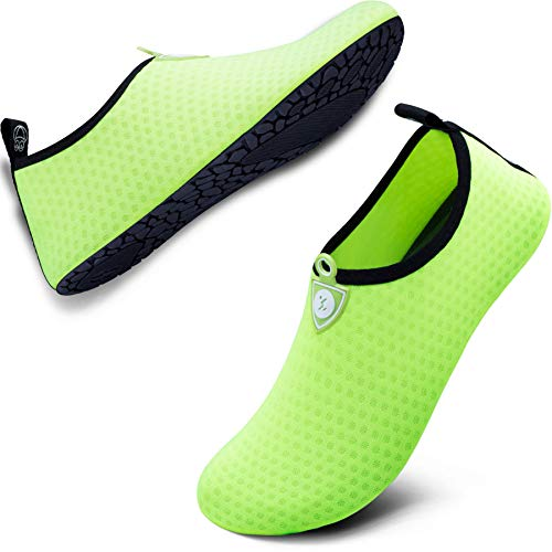 SIMARI Anti Slip Water Shoes for Women Men Summer Outdoor Beach Swim Surf Pool SWS001 Circular Green 8-9