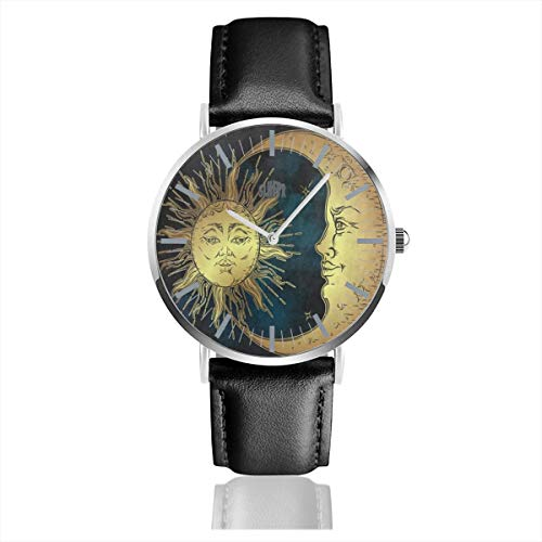 - Vintage Style Moon Sun Star Mens Watches Leather Bands Waterproof Analog Quartz Watch 38mm/1.5