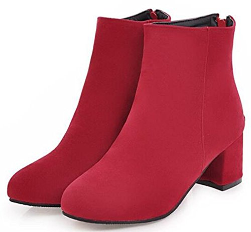 Boots Zipper Motor Womens Faux Heels Suede Retro Red IDIFU Mid Ankle Back Chunky Sa68qnw