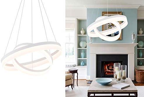 ROYAL PEARL LED Foyer Pendant Light Modern Flush Mount Chandelier Down Light for Living Dining Room Bedroom 60W Warm White 3000K