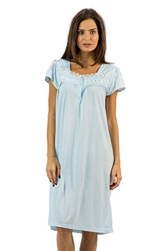 (Casual Nights Women's Polka Dot Lace Short Sleeve Nightgown - Light Blue - Large)