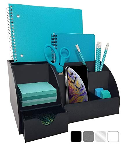 (Acrylic Office Desk Organizer with Drawer, 9 Compartments, All in One Office Supplies and Cool Desk Accessories Organizer, Enhance Your Office Decor with This Desktop Organizer (Black))