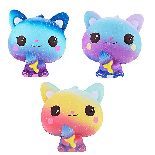 3pcs Slow Rising Ice Cream Cat Jumbo Squishies Scented Stress Relief Kids Toy Kawaii Animal Toy