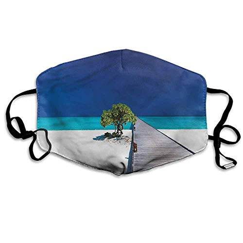 (Beach Fashion Mouth Mask Wooden Platform Pier Tree for Cycling Camping Travel W4