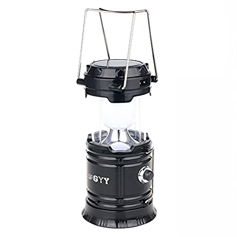 GYY 3 In 1 Solar Rechargeable Collapsible Portable LED Camping Lantern Flashlight (Small Black1)