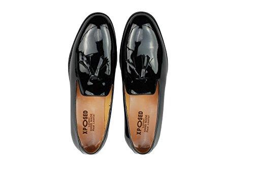 Véritable pour homme Cuir verni noir brillant Smart Loafer Chaussures à enfiler