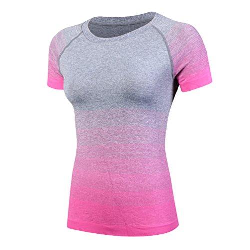 ZKOO Mujeres Ejercicio Fitness Y Compresión Manga Corta Camiseta Para Yoga Ejecutando Deportes Secado Rapido De Manga Corta Rosa
