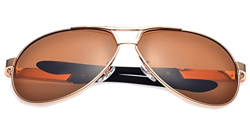 Aviator Sunglasses Polarized for Men Women with Sun Glasses Case - UV 400 (Gold, - Singapore Sunglasses Hut
