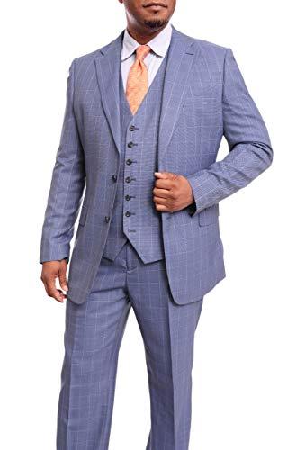 (Steven Land Classic Fit Blue Windowpane Three Piece Super 150s Wool Suit)