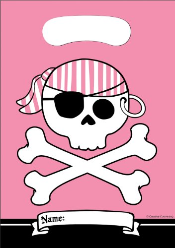 8-Count Party Loot Bags, Pirate Parrty Girl ()