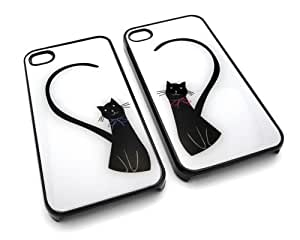 Cute Love Cats with Heart Set of 2 Forever I Love You Snap-On Covers Hard Carrying Cases for iPhone 4/4S (Black)