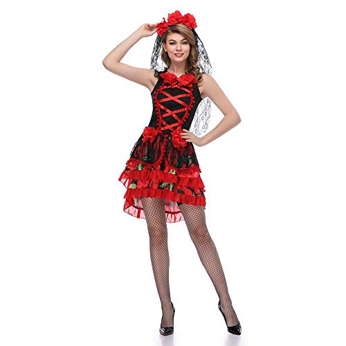LVLUOYE Halloween Cosplay Ghost Bride Uniform, Mexican Undead Festival Masquerade Costume, Cos Vampire -