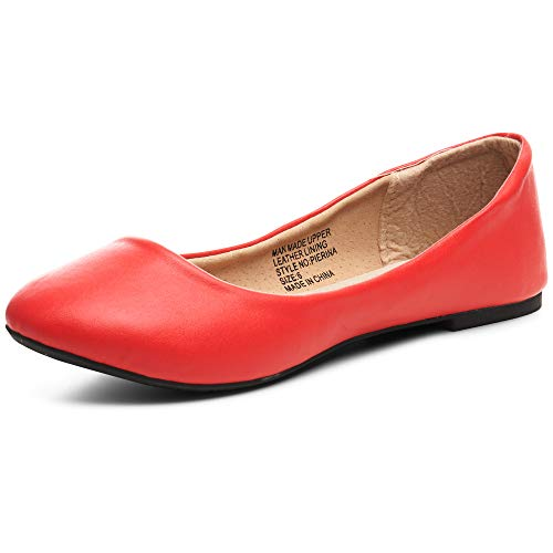 alpine swiss Womens Red Leather Pierina Ballet Flats 7 M US -