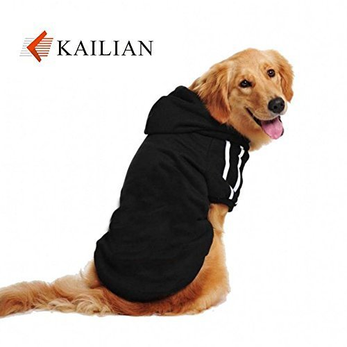 Kailian ® New Autumn and Winter Medium Dogs and Big Dogs Sports Hoodies, Dog Coats,Dog Sweater(Black,4XL) by Kailian