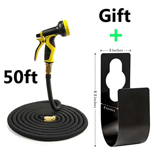 Garden Hose Expandable 50FT + [Metal Wall Hose Hanger] + [9 Patterns Spray Nozzle High Pressure] Kink-Free Lightweight Expanding Water Hose for Car Washing Cleaning Patio Watering Plants - Rominetak
