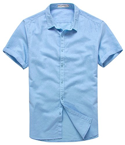 chouyatou Men's Summer Basic Collar Short-Sleeved Linen Shirts (Large, Light - Linen Boys Blue Light