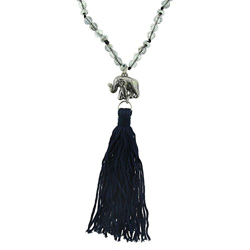 Women's Acrylic Glass Beads Necklace with Elephant Pendant and Cord Tassel (Masked Ball Outfit)