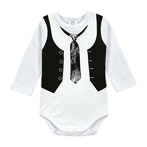 Nonna Bambini Dylan Baby Boy Infant Dress up Bodysuit White (0-3M) -