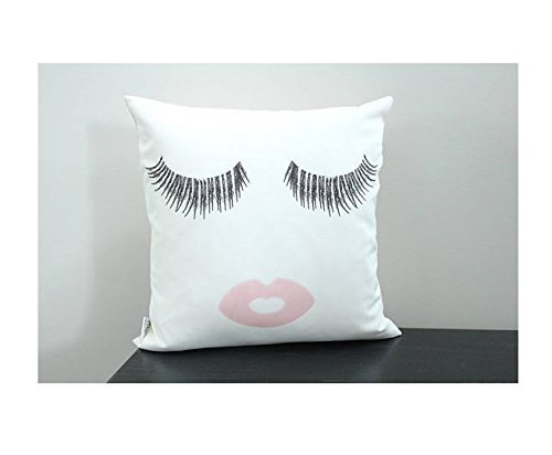 Eyelashes and lips Pillow cover 16x16 modern hipster accessory home décor nursery baby gift present zipper canvas ready to ship christmas gift