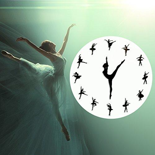 (The Geeky Days Classical Dance Charming Ballerina Wall Clock Baby Girl Nursery Decor Ballet Dancer Modern Wall Clock Ballet Dancing Girl Needle Hand Wall Watch)