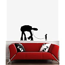 """Boy Walking Robot - Wall Vinyl Decal (36"""" Width x 22"""" Height) (Color Variations Available) (BLACK)"""